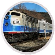 Round Beach Towel featuring the photograph Passenger Train by Michael Gordon