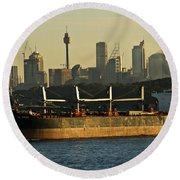 Round Beach Towel featuring the photograph Passing Sydney In The Sunset by Miroslava Jurcik