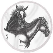 Round Beach Towel featuring the drawing Passion by Bill Searle