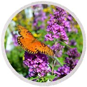 Round Beach Towel featuring the photograph Passion Butterfly by Deena Stoddard