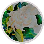 Round Beach Towel featuring the painting Passionate Gardenia by Beverley Harper Tinsley