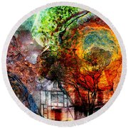 Round Beach Towel featuring the mixed media Past Or Future? by Ally  White
