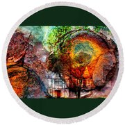 Past Or Future? Round Beach Towel