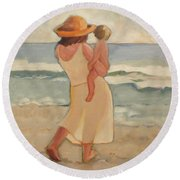 Pastel Morning Beach Pastel Morning Mother And Baby Round Beach Towel