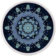 Round Beach Towel featuring the digital art Pastel Paisley Mandala by Deborah Smith