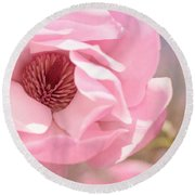 Pastel Pink Petals And Paint Round Beach Towel