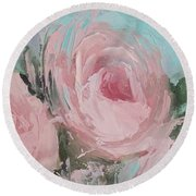 Pastel Pink Roses Painting Round Beach Towel