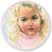 Pastel Portrait Of An Angelic Girl Round Beach Towel