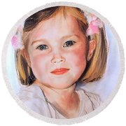 Pastel Portrait Of Girl With Flowers In Her Hair Round Beach Towel