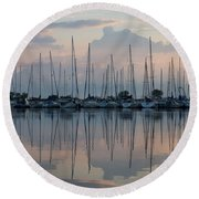 Pastel Sailboats Reflections At Dusk Round Beach Towel