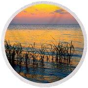 Pastel Sunset 2 Round Beach Towel