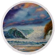 Round Beach Towel featuring the painting Pastel Sunset by Jenny Lee