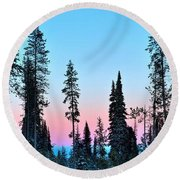 Pastels Of A Parting Day Round Beach Towel