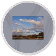 Pasture Clouds Round Beach Towel by Susan Williams