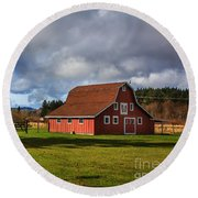 Round Beach Towel featuring the photograph Pasture For Rent by Jean OKeeffe Macro Abundance Art