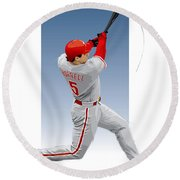 Pat The Bat Burrell Round Beach Towel