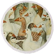 Patchwork Geese Round Beach Towel by Ditz