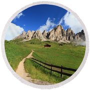 Round Beach Towel featuring the photograph path in Gardena pass by Antonio Scarpi