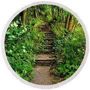 Path Into The Forest Round Beach Towel