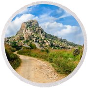 Path Into The Hills Round Beach Towel