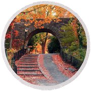 Path Of Leaves Round Beach Towel