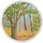 Path Of Trees Round Beach Towel