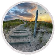 Path Over The Dunes Round Beach Towel by Sebastian Musial