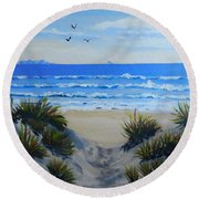 Path Through The Sand Dunes Round Beach Towel