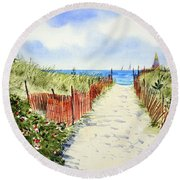 Path To East Beach-watch Hill Ri Round Beach Towel