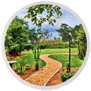 Garden Path To Wild Marsh Round Beach Towel