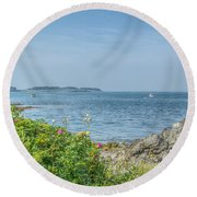 Round Beach Towel featuring the photograph Path To The Cove by Jane Luxton