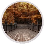 Path To The Wild Wood Round Beach Towel