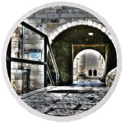 Round Beach Towel featuring the photograph Pathway Through Old Jerusalem by Doc Braham