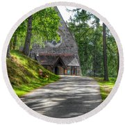 Pathway To Crathie Church Round Beach Towel