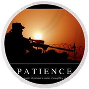 Patience Inspirational Quote Round Beach Towel