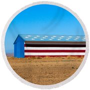 Patriotic Barn Round Beach Towel