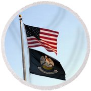 Round Beach Towel featuring the photograph Patriotic Flags by Joseph Baril