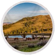 Patterson Mountain Afternoon View Round Beach Towel