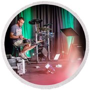 Paul Harvey, Drummer At Grace Round Beach Towel by Aleck Cartwright