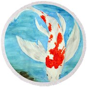 Paul's Koi Round Beach Towel by Marna Edwards Flavell