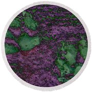 Paw Prints In Green And Mauve Round Beach Towel