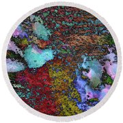 Paw Prints Lilac And Turquoise Pads Round Beach Towel