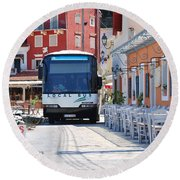 Paxos Island Bus Round Beach Towel