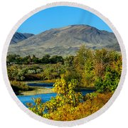 Payette River And Squaw Butte Round Beach Towel