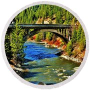 Payette River Scenic Byway Round Beach Towel by Benjamin Yeager
