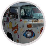 Peace And Love Van Round Beach Towel by Dany Lison