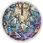Round Beach Towel featuring the painting Peace by Anthony Falbo
