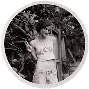 Round Beach Towel featuring the photograph Peace Chick by Greg Allore