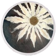 Round Beach Towel featuring the painting Peace Flower by Jacqueline McReynolds