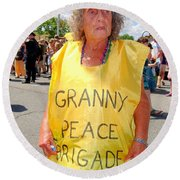 Round Beach Towel featuring the photograph Peace Granny by Ed Weidman